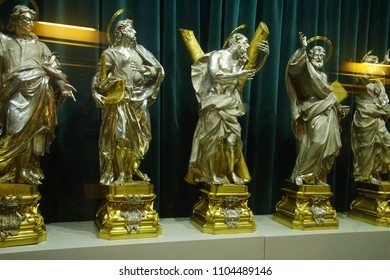 MDINA, MALTA - APR 19, 2018 - Silver statues of Christ and the Apostles, St Paul's Cathedral, Mdina, Malta