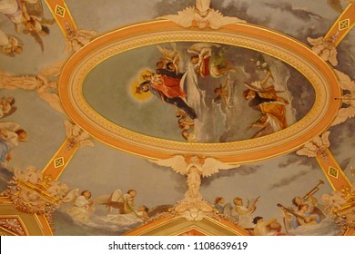 MDINA, MALTA - APR 19, 2018 - Baroque elliptical ceiling fresco of the Carmelite priory in the medieval city of Valletta, Malta
