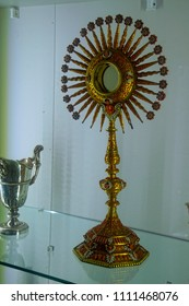 MDINA, MALTA - APR 19, 2018 - Bejeweled chalice,pyx and monstrance in thee Treasury of St Paul's Cathedral, Mdina, Malta