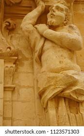 MDINA, MALTA - APR 19, 2018 - Statues on the exterior of the Cathedral Treasury museum in Mdina, Malta