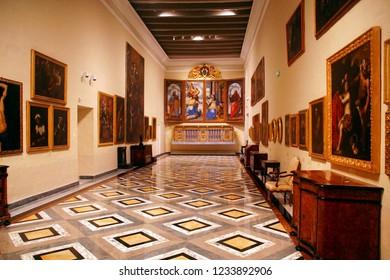 MDINA, MALTA - APR 19, 2018 - Baroque altar paintings of St Paul's Cathedral, Mdina, Malta