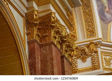 MDINA, MALTA - APR 19, 2018 - Baroque altar of St Paul's Cathedral, Mdina, Malta