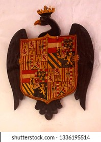 MDINA, MALTA - APR 19, 2018 - Eagle holding coat of arms of nobility registered in St Paul's Cathedral, Mdina, Malta