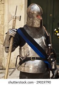 MDINA, MALTA - APR19 -  Knight during medieval reenactment in the old city of Mdina in Malta April 19, 2009