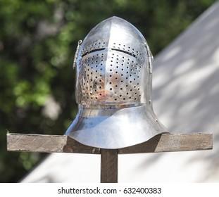 Mdina, Malta - April 30th, 2017: Bascinet helmet at Medieval Mdina festival in Mdina, Malta.