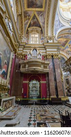 Mdina, Malta - July 5, 2018: Interiors of St Pauls Cathedral C, Build 1696-1705, the country's oldest church