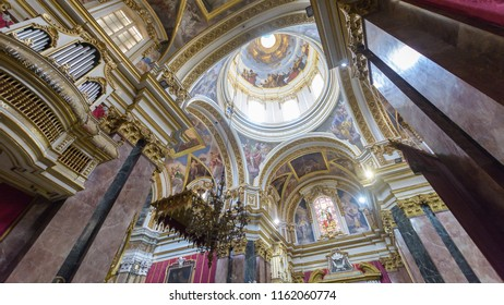 Mdina, Malta - July 5, 2018: Interiors of St Pauls Cathedral D, Build 1696-1705, the country's oldest church