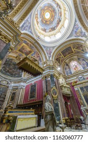 Mdina, Malta - July 5, 2018: Interiors of St Pauls Cathedral G, Build 1696-1705, the country's oldest church