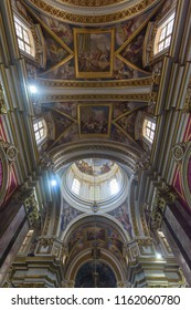 Mdina, Malta - July 5, 2018: Interiors of St Pauls Cathedral J, Build 1696-1705, the country's oldest church