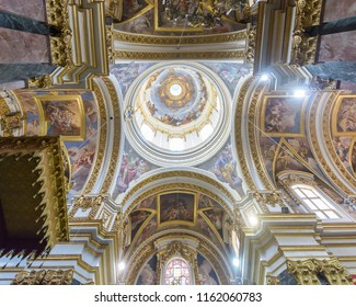 Mdina, Malta - July 5, 2018: Interiors of St Pauls Cathedral H, Build 1696-1705, the country's oldest church