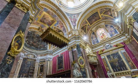 Mdina, Malta - July 5, 2018: Interiors of St Pauls Cathedral F, Build 1696-1705, the country's oldest church