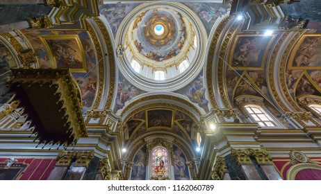 Mdina, Malta - July 5, 2018: Interiors of St Pauls Cathedral I, Build 1696-1705, the country's oldest church