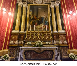 Mdina, Malta - July 5, 2018: Interiors of St Pauls Cathedral B, Build 1696-1705, the country's oldest church
