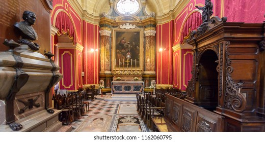 Mdina, Malta - July 5, 2018: Interiors of St Pauls Cathedral R, Build 1696-1705, the country's oldest church