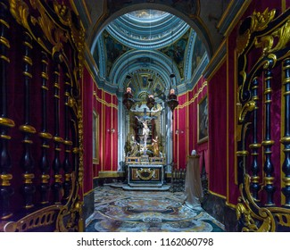 Mdina, Malta - July 5, 2018: Interiors of St Pauls Cathedral O, Build 1696-1705, the country's oldest church
