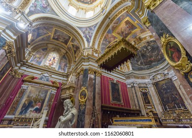 Mdina, Malta - July 5, 2018: Interiors of St Pauls Cathedral N, Build 1696-1705, the country's oldest church