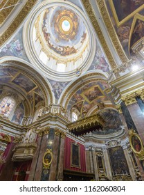 Mdina, Malta - July 5, 2018: Interiors of St Pauls Cathedral P, Build 1696-1705, the country's oldest church
