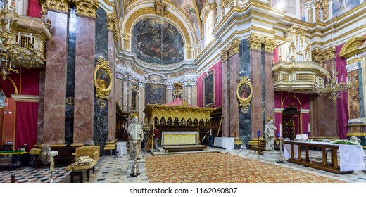 Mdina, Malta - July 5, 2018: Interiors of St Pauls Cathedral Q, Build 1696-1705, the country's oldest church