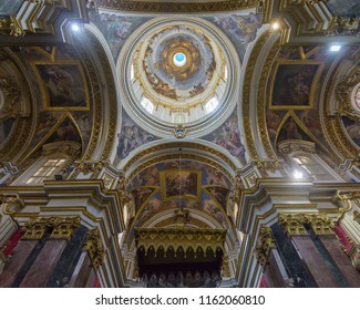 Mdina, Malta - July 5, 2018: Interiors of St Pauls Cathedral L, Build 1696-1705, the country's oldest church