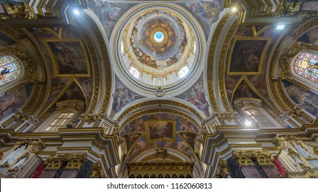 Mdina, Malta - July 5, 2018: Interiors of St Pauls Cathedral K, Build 1696-1705, the country's oldest church