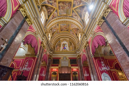 Mdina, Malta - July 5, 2018: Interiors of St Pauls Cathedral M, Build 1696-1705, the country's oldest church