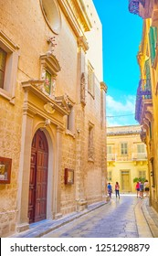 MDINA, MALTA - JUNE 14, 2018: The Mdina fortress boasts beautiful preserved medieval edifices with carved decorations, on June 14 in Mdina.