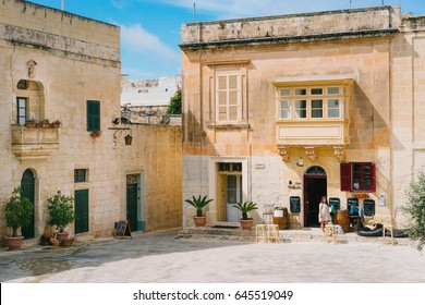 Mdina, Malta - March 10 2017: Beautiful town square with traditional maltese houses in historic old city. Silent City, Mdina
