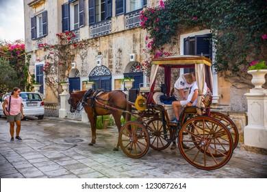 MDINA, MALTA - September 2018: Traditional Maltese horse carriage on the street of Mdina historical town, Malta