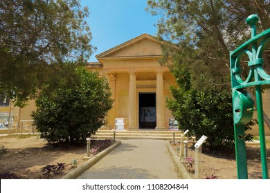 Mdina Rabat, Malta - August 04 2016: Domvs Romana museum facade. Day view of entrance to Roman ruins aristocratic house museum with mosaics.