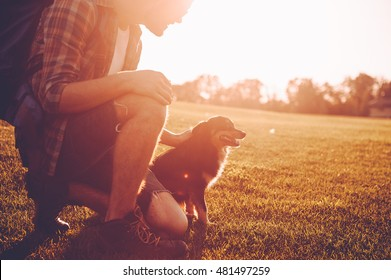 Me and my best friend. Cheerful young man with backpack petting dog while kneeling on the green grass outdoors