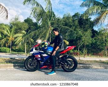 Me with my motorbike, in Kuala Lumpur, Malaysia, 21st October 2018, 5pm.