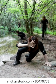 me myself and I in the forest crawling towards you looking like a zombie