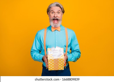 Is it for me. Photo of funky crazy grey haired grandpa hold big giftbox birthday surprise amazed open mouth wear blue shirt suspenders bow tie isolated yellow color background