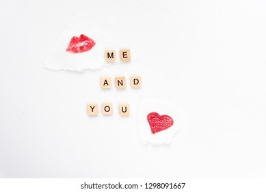 Me and you words on white marble background