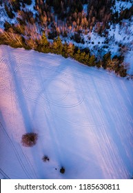 A meadow covered in snow and ice with trees that throw their shadows. Weird shapes become visible seeing the landscape from above.