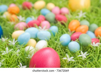 Meadow with Easter eggs