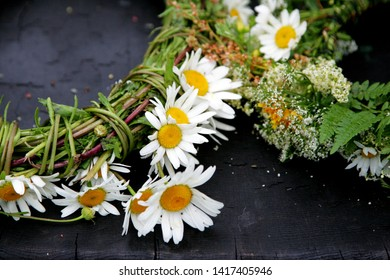 Meadow flower bouquet and crown. celebration of the midsummer holidays (Ligo) in Latvia.