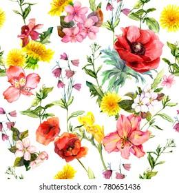 Meadow flowers, summer grasses, plants. Repeating summer pattern. Watercolor