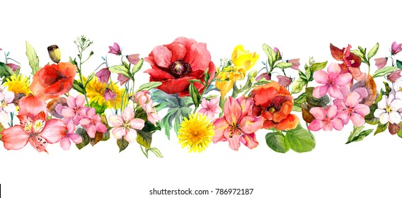 Meadow flowers, wild grasses, leaves. Repeating summer horizontal border. Floral watercolor