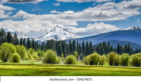 A meadow in the foreground and the mountain in center frame is North Sister of the Oregon Cascades. Peak elevation of 10,085 feet.