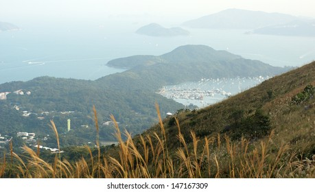 the meadow front bird view with the Inland Sea background in Sai Kung suburb from Mount Ma On Shan in Hong Kong