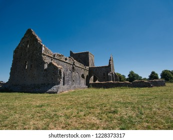 The meadow in front of the Hore Abbey in Ireland near Cashel on a sunny day