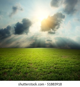 Meadow with green grass under clouds