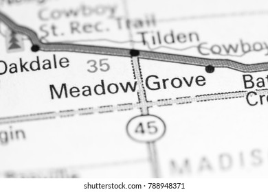 Meadow Grove. Nebraska. USA on a map.