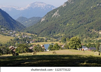 Meadow and Le Sappey village in Chartreuse