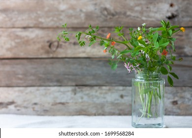 Meadow natural wildflowers bouquet in glass jar on wooden rustic background. Herbal medicine and phytoterapy concept. Country style life concept.