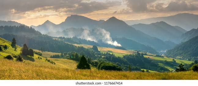 meadow in Slovak mountains at sunset