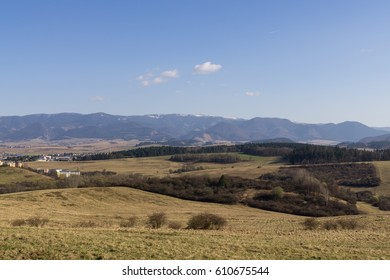 Meadow with trees and views to mountains. Slovakia