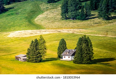 Meadow valley farm house landscape. Farm house in farmland. Farm house landscape - Shutterstock ID 1810053964