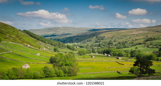 Meadows, dry stone walls and barns nestling beneath open moorland make up the classic Yorkshire Dales National Park landscape near Muker.